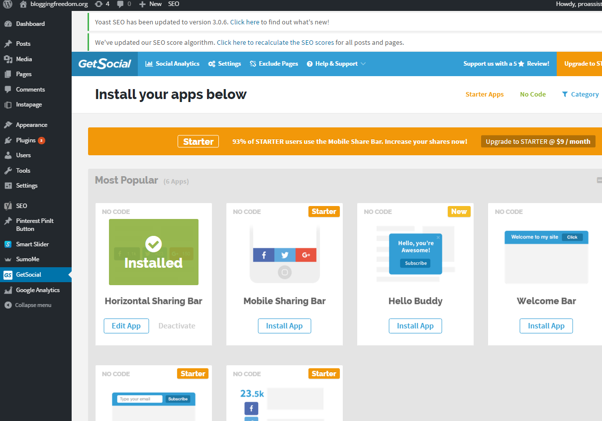 How to install GetSocial on WordPress