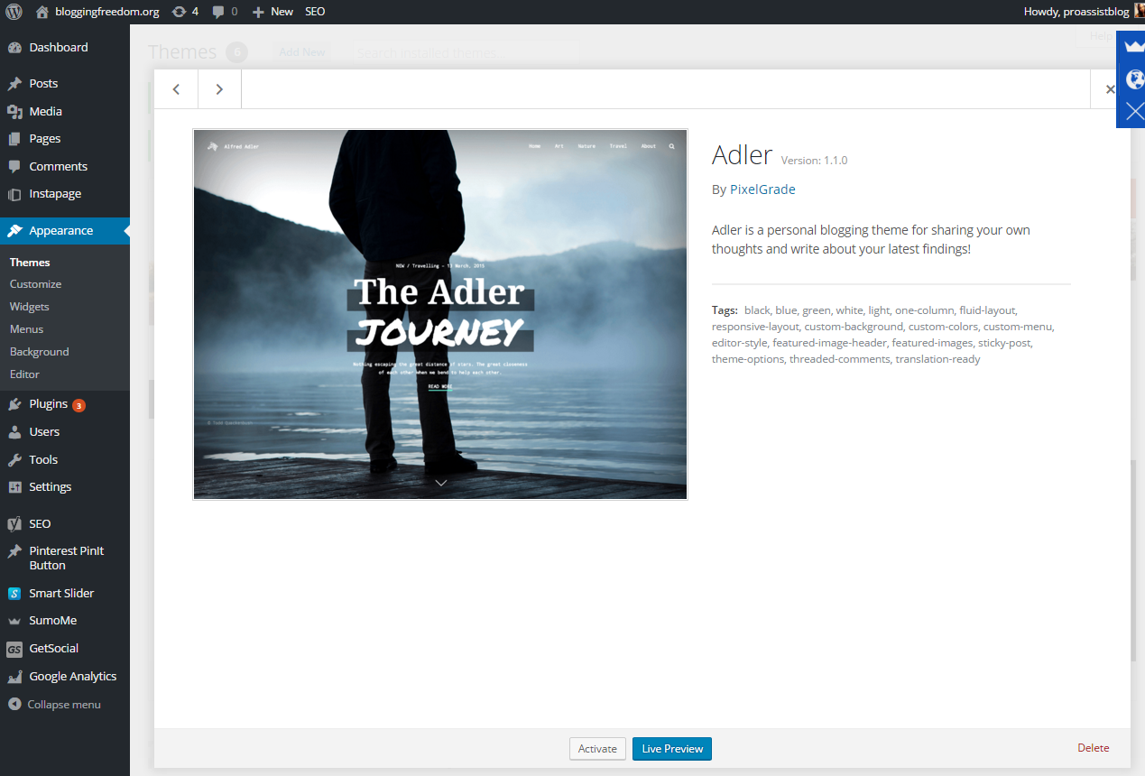 WordPress Theme Live Preview