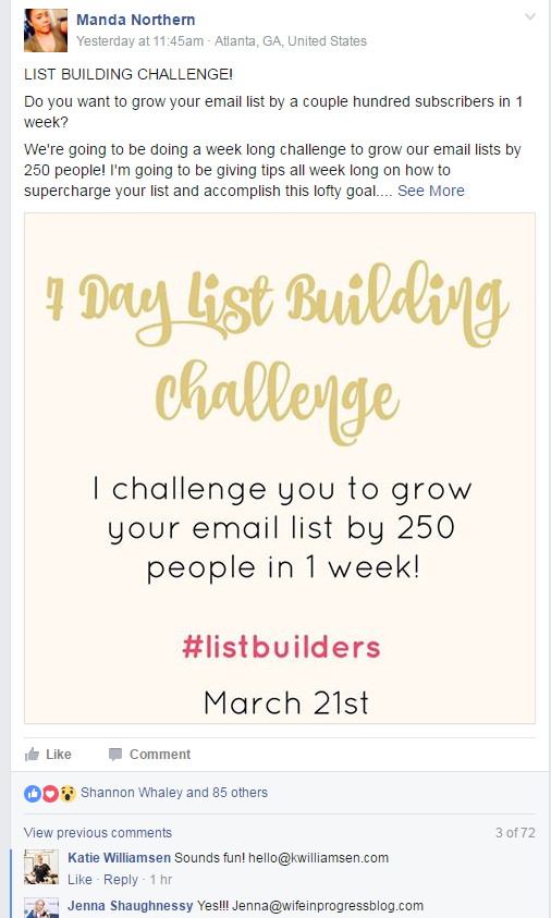List building challenge post