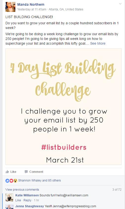 List building challenge post